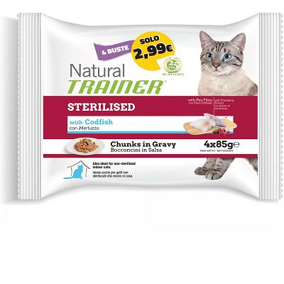 FLOWPACK NATURAL TRAINER STERILISED CAT BUSTA 4X85G TACCHINO