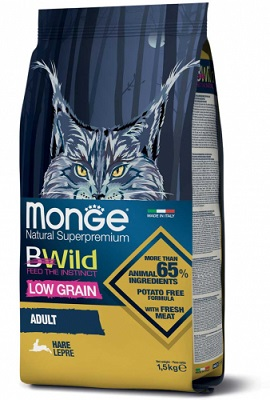 MONGE BWILD CAT ADULT LEPRE KG.1,50