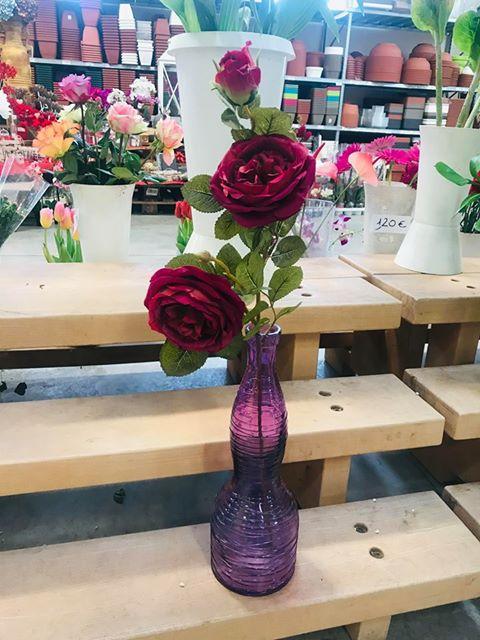 RAMO ROSA INGLESE 3 fiori  BORDEOUX FLORSTYLE