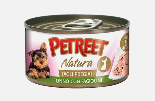 PETREET NATURA TAGLI PREGIATI G 85 DOG TONNO CON FAGIOLINI