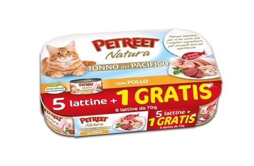 PETREET CAT TONNO DEL PACIFICO CON POLLO 6X70G