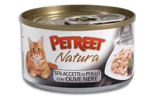 PETREET CAT 70 G SFILACCETTI POLLO CON OLIVE NERE
