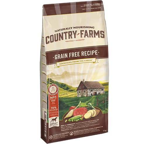 COUNTRY FARMS GRAIN FREE ADULT DOG MANZO KG.11