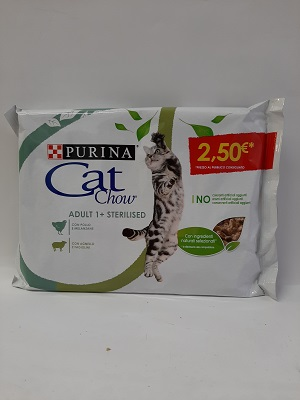 CAT CHOW ADULT STERILISED POLLO E MELAN. + AGNELLO E FAG. 4X85 GR PURINA