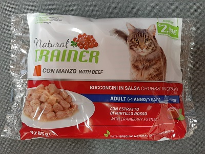 FLOWPACK NATURAL TRAINER STERILISED CAT BUSTA 4X85G MANZO