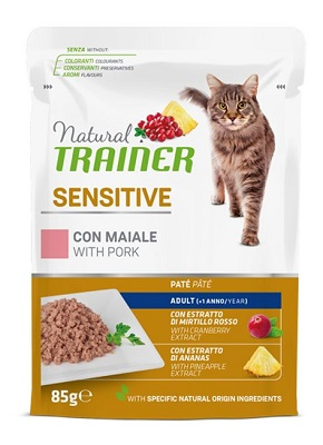 NATURAL TRAINER CAT SENSITIVE MAIALE BUSTA 85 G