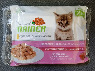 FLOWPACK NATURAL TRAINER CAT KITTEN&YOUNG BUSTA 4X85G POLLO