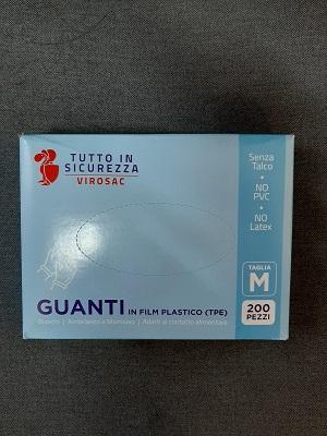 GUANTI IN FILM PLASTICO BIANCHI MONOUSO PZ 200 TG. M