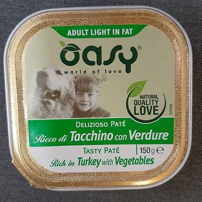 OASY WET DOG DELIZIOSO PATE' ADULT LIGHT IN FAT TACCHINO CON VERDURE 150 GR